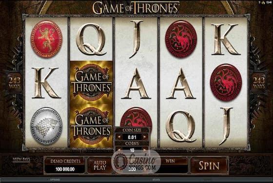 Game of Thrones slot bonuses
