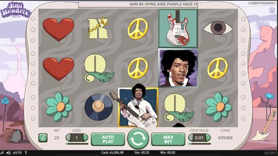 Jimi Hendrix slot free spin